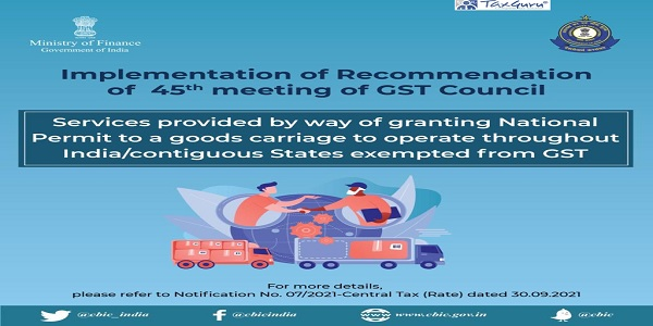 Implementation of Recommendation of 45th meeting of GST Council- Notification No. 07-2021- Central Tax (Rate)