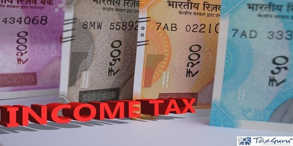 Income tax 3d word with new 2000, 500 and 200 notes