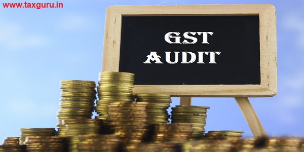 Many piles of coins against blue sky and mini blackboard with text GST Audit