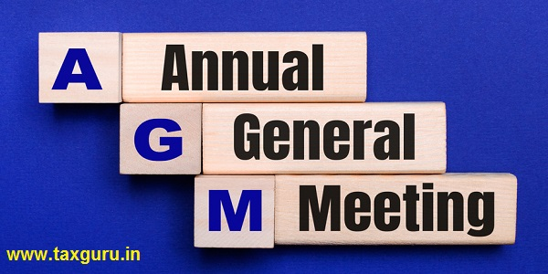 On a bright blue background, light wooden blocks and cubes with the text AGM Annual General Meeting