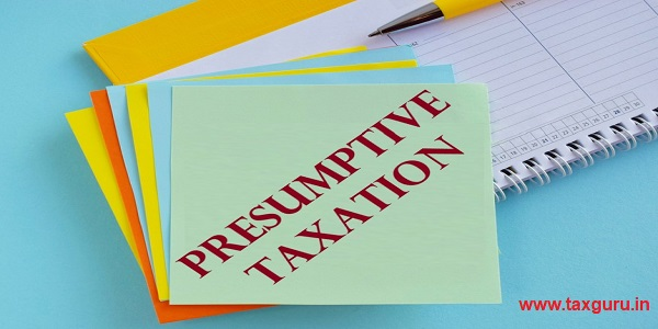 Presumptive Taxation word on colorful notes