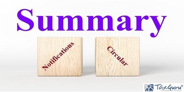 Summary of Notifications and Circular