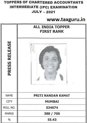 Topper of CA IPC