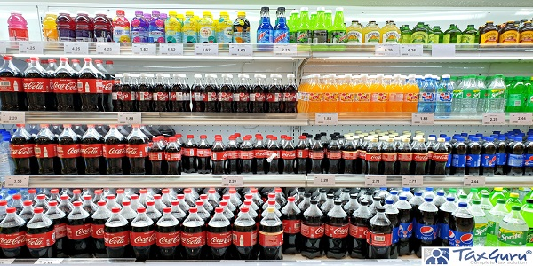 View of various brand carbonated soft drink on the refrigerator shelf in Aeon grocery store