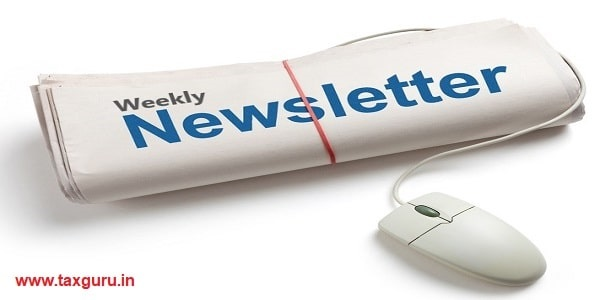 Weekly Newsletter and Computer mouse with white background