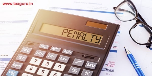 Word PENALTY on the display of a calculator on financial documents