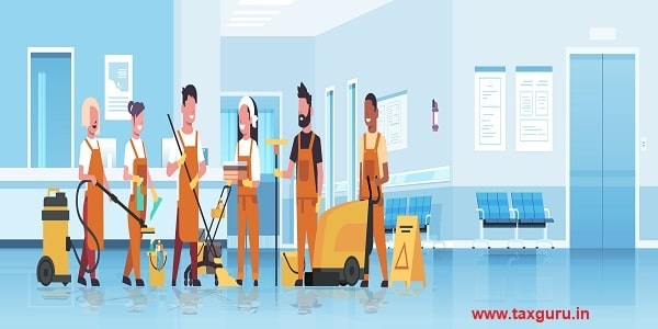 janitors team cleaning service concept