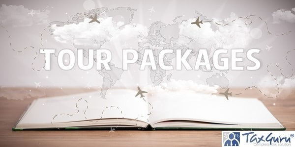 Open book with TOUR PACKAGES inscription, vacation concept