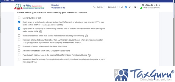 Reporting of Capital Gain on Sale of Equity – ITR 2 Image