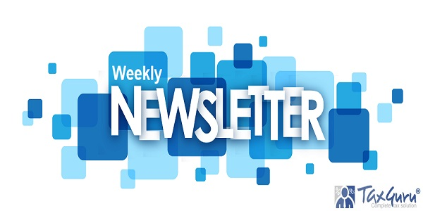 weekly NEWSLETTER letters banner on blue squares